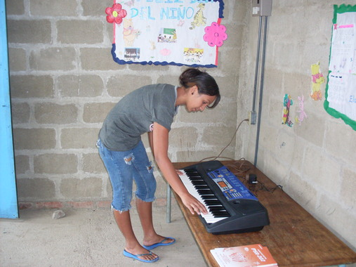 trying out the piano
